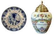 delft birth plates and tobacco jars